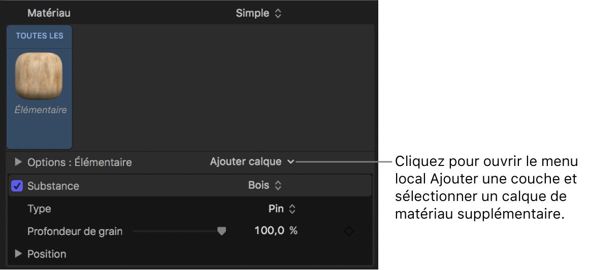 Inspecteur de texte3D affichant le menu local Ajouter une couche pour un matériau