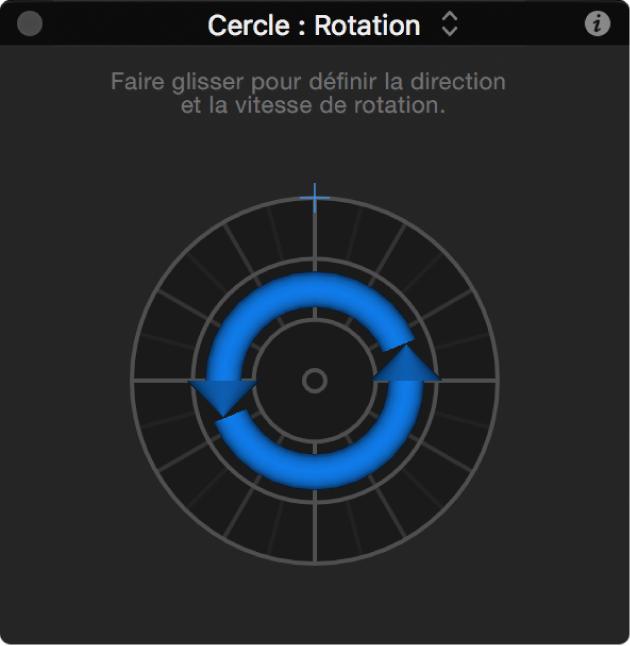 Palette du comportement Rotation avec paramètre d'axe défini surZ
