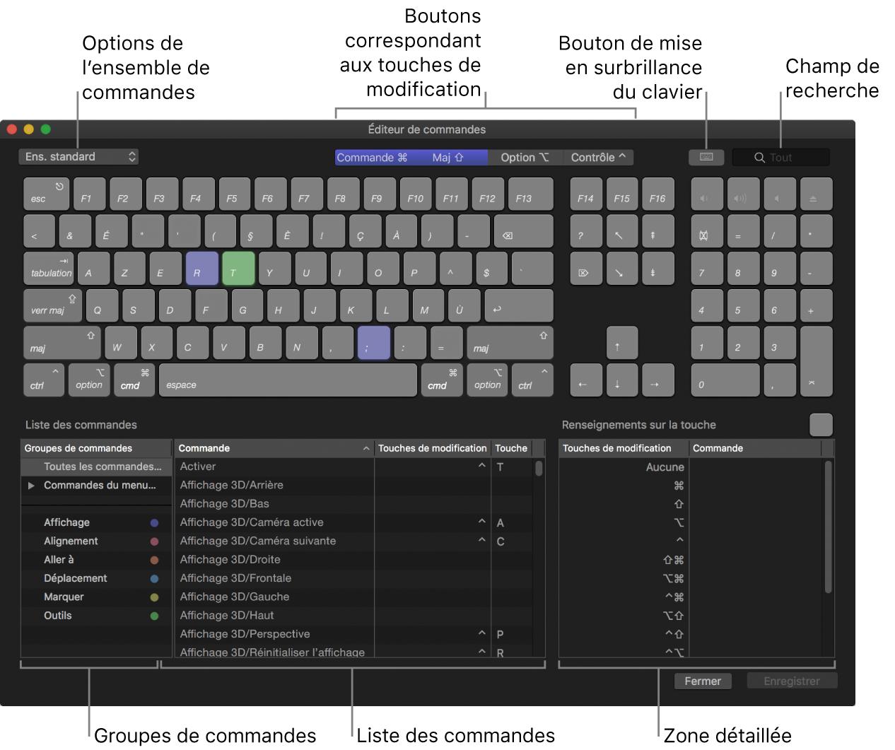 Éditeur de commandes affichant les options d'ensemble de commandes, les boutons de touche de modification, le bouton de mise en surbrillance du clavier, le champ de recherche, les groupes de commandes, la liste des commandes et la zone «Renseignements sur la touche»