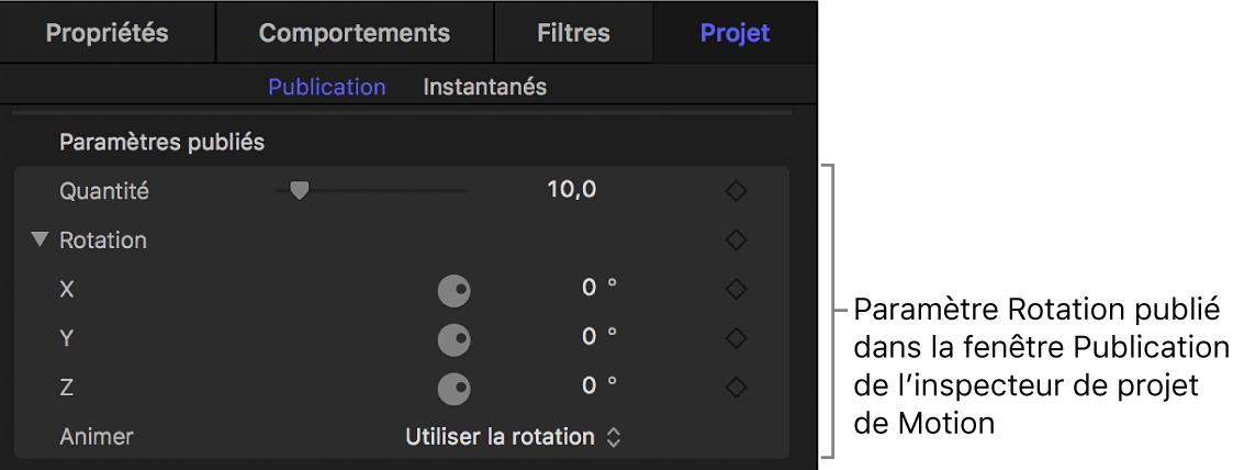 Paramètre Rotation, publié dans la fenêtre Publication de l'inspecteur du projet