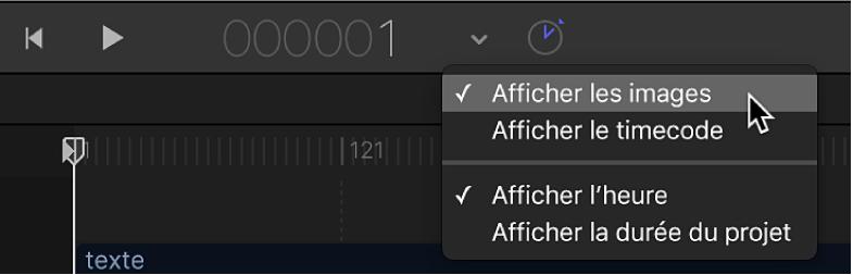Sélection de l'option Afficher les images dans le menu local de la synchronisation