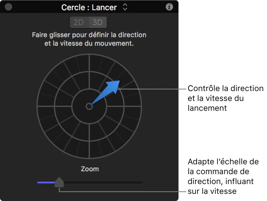 Palette affichant les commandes du comportement Lancer en mode2D