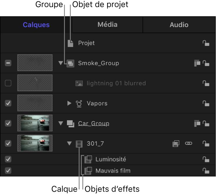 Fenêtre du projet affichant la liste Calques contenant l'objet de projet, les groupes, les calques et les objets d'effets