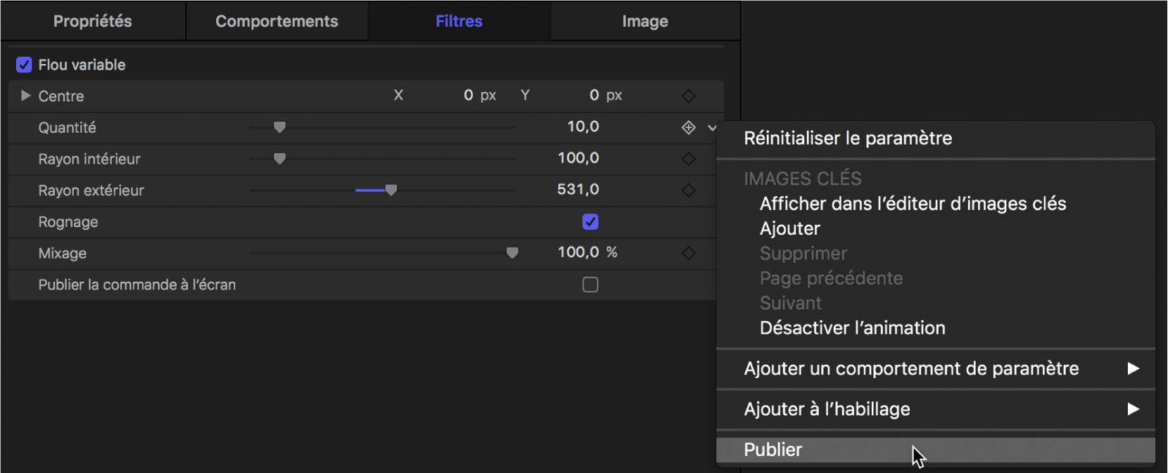 Sélection de Publier dans le menu Animation du paramètre Déformer