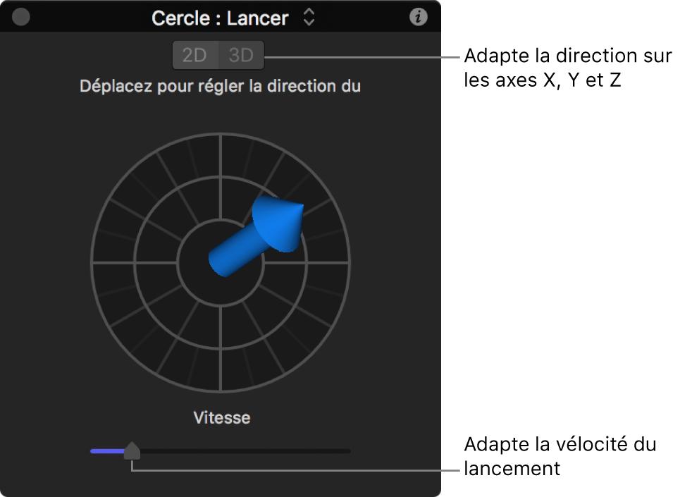 Palette affichant les commandes du comportement Lancer en mode3D