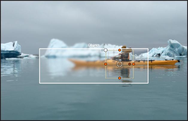 オブジェクト・トラッカーの境界ボックス。キャンバス内のオブジェクトを自動的に認識しています