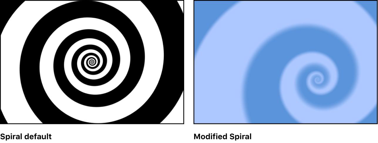 キャンバスに、さまざまな設定の「スパイラル」ジェネレータが表示されています
