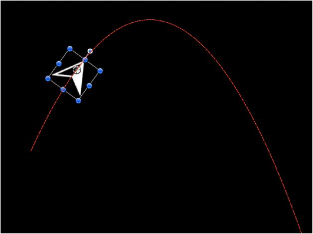 """显示""""重力""""行为的示例的画布"""
