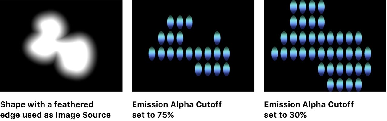 """显示""""发射 Alpha 截止""""如何通过羽化边缘影响形状的画布"""