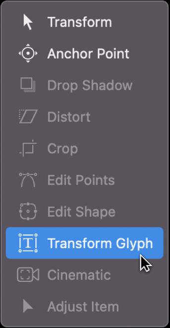 """从画布工具栏中选取""""变换字形""""工具"""