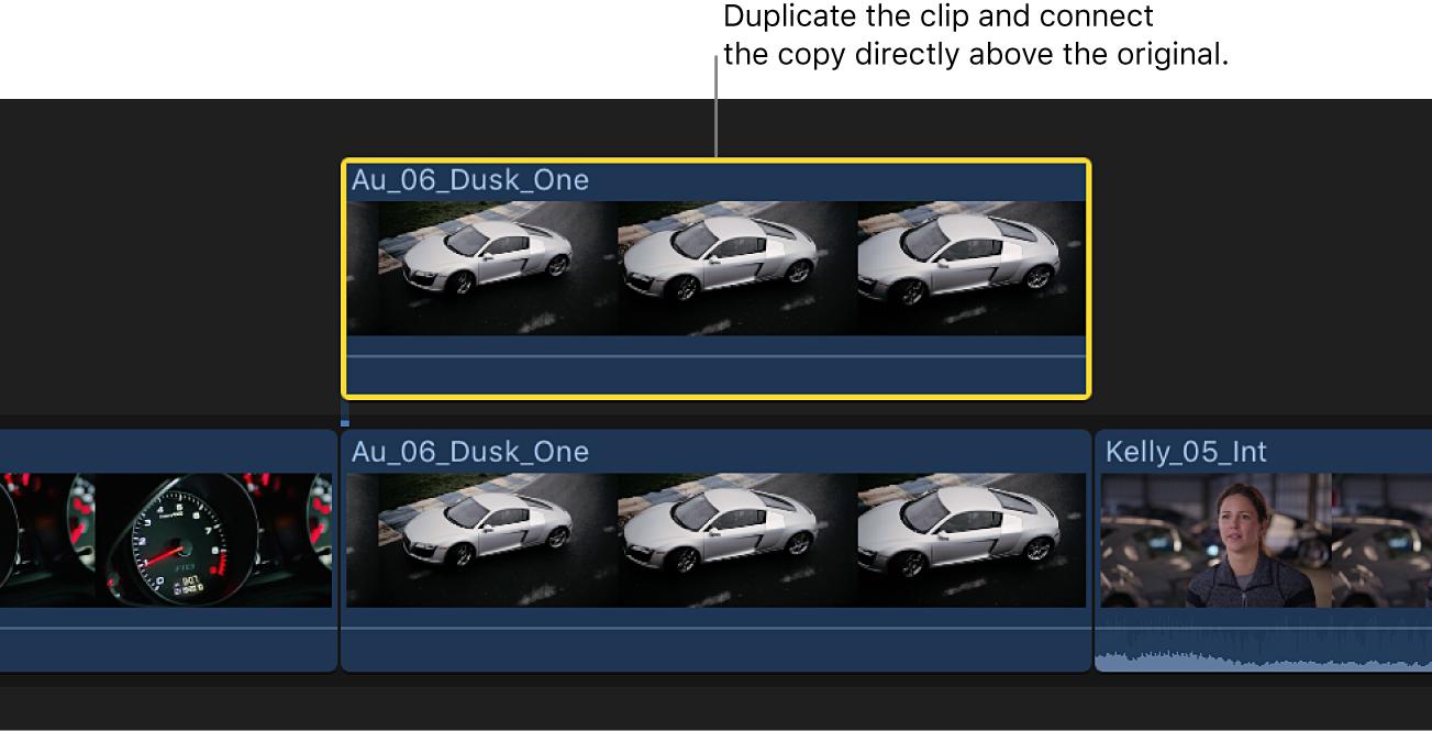 Die Timeline mit einem Clip in der primären Handlung und einem duplizierten Clip direkt darüber, der mit dem Originalclip verbunden ist