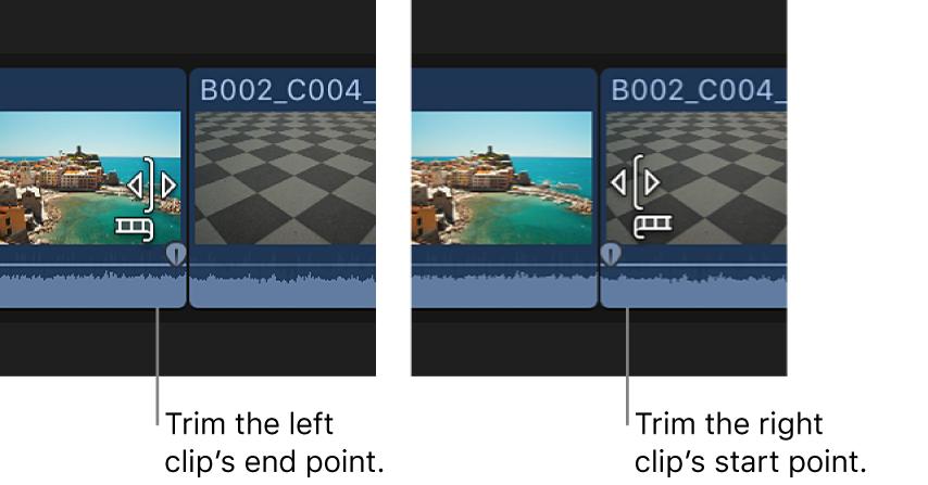 Das Trimmsymbol verändert sich, um anzuzeigen, ob der linke oder der rechte Clip getrimmt wird
