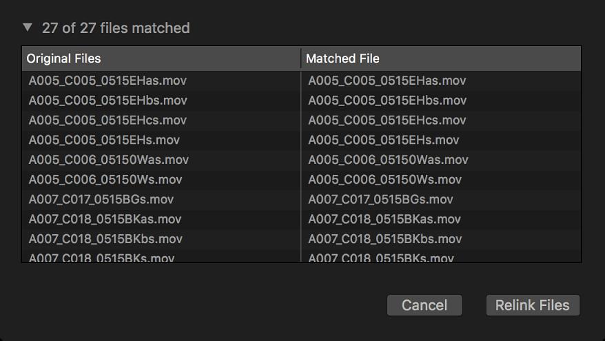Eine Liste mit den Originaldateien und den gefundenen Dateien, die neu verknüpft werden können