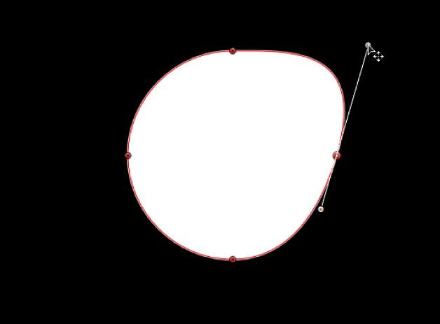 Der Viewer mit einem Tangentensegment, das unabhängig von seinem gegenüberliegenden Tangentensegment verlängert wird