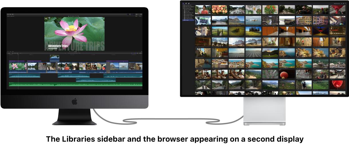 """Zweites Display mit angezeigter Seitenleiste """"Mediatheken"""" und Übersicht"""