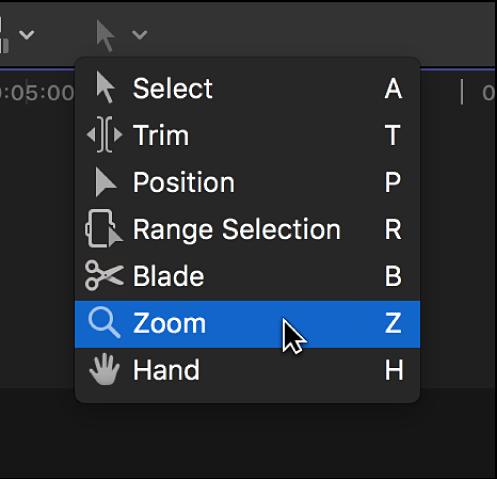 """Das Werkzeug """"Zoomen"""" im Einblendmenü """"Werkzeuge"""""""