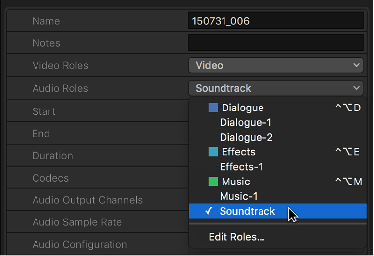 A newly created role being chosen from the Audio Roles pop-up menu in the Info inspector