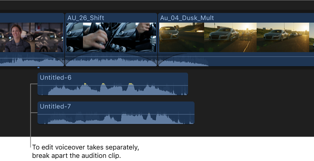 The timeline showing a voiceover audition clip broken into separate clips