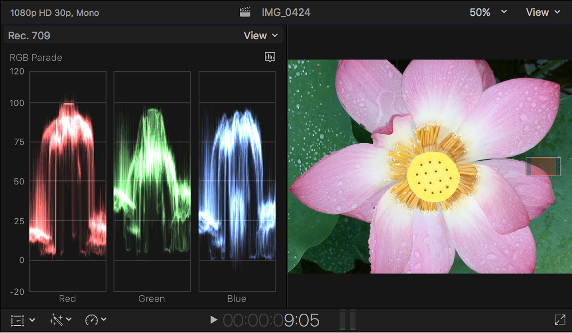 The RGB Parade waveform monitor shown to the left of the viewer