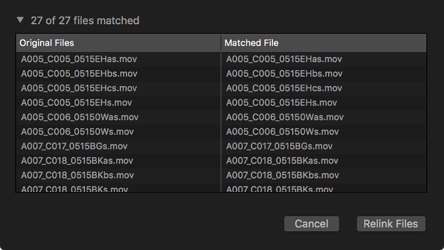 A list of original files and matched files that can be relinked