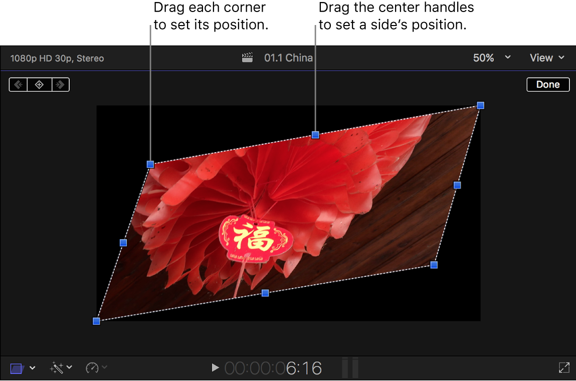 The viewer showing the Distort effect onscreen controls