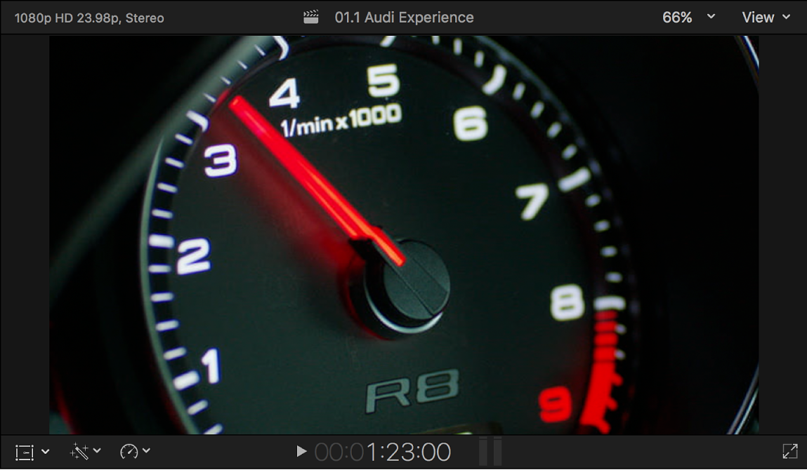 The viewer showing the luma key foreground video with an image of a speedometer
