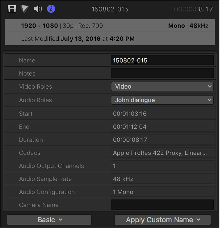 The Info inspector showing information for a selected clip