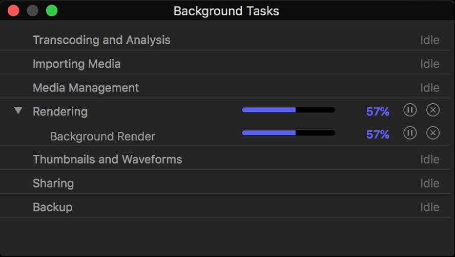 The Background Tasks window