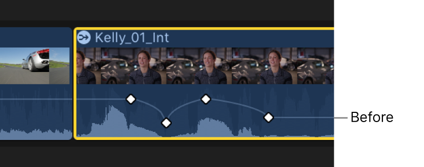 A keyframe curve in the Audio Animation editor before an adjustment