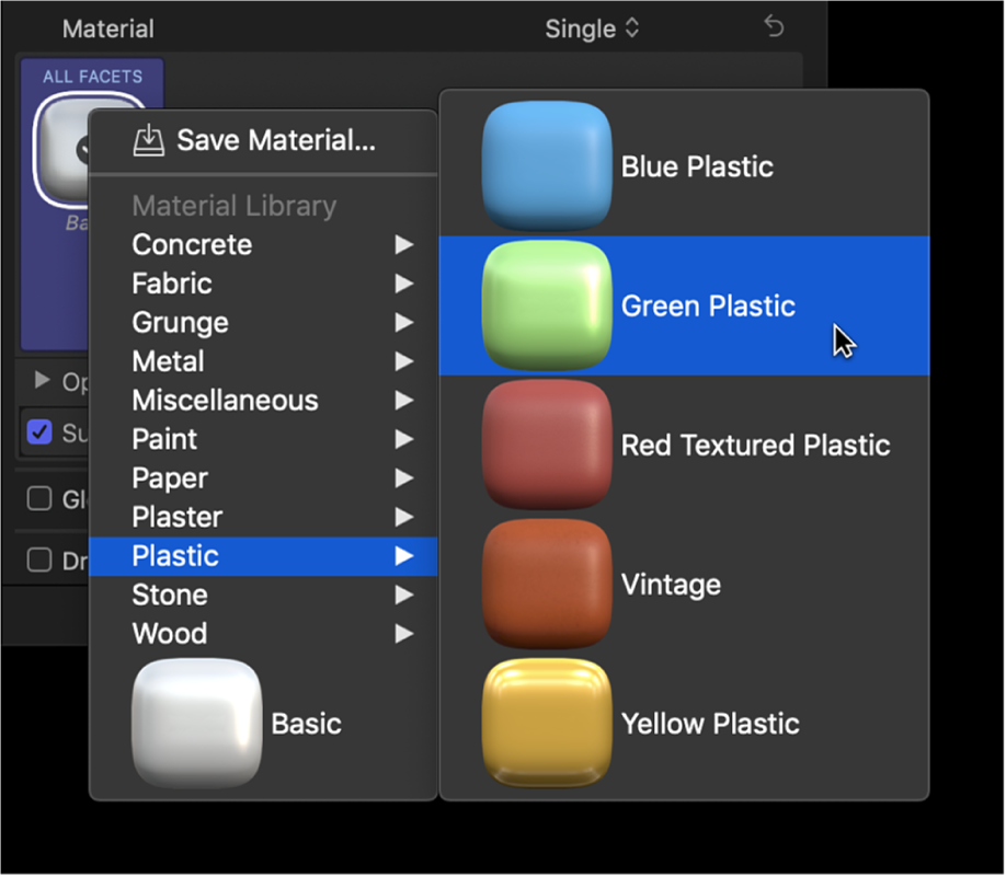 The 3D Text section of the Text inspector, showing the material presets pop-up menu and the Plastic submenu, with Green Plastic selected