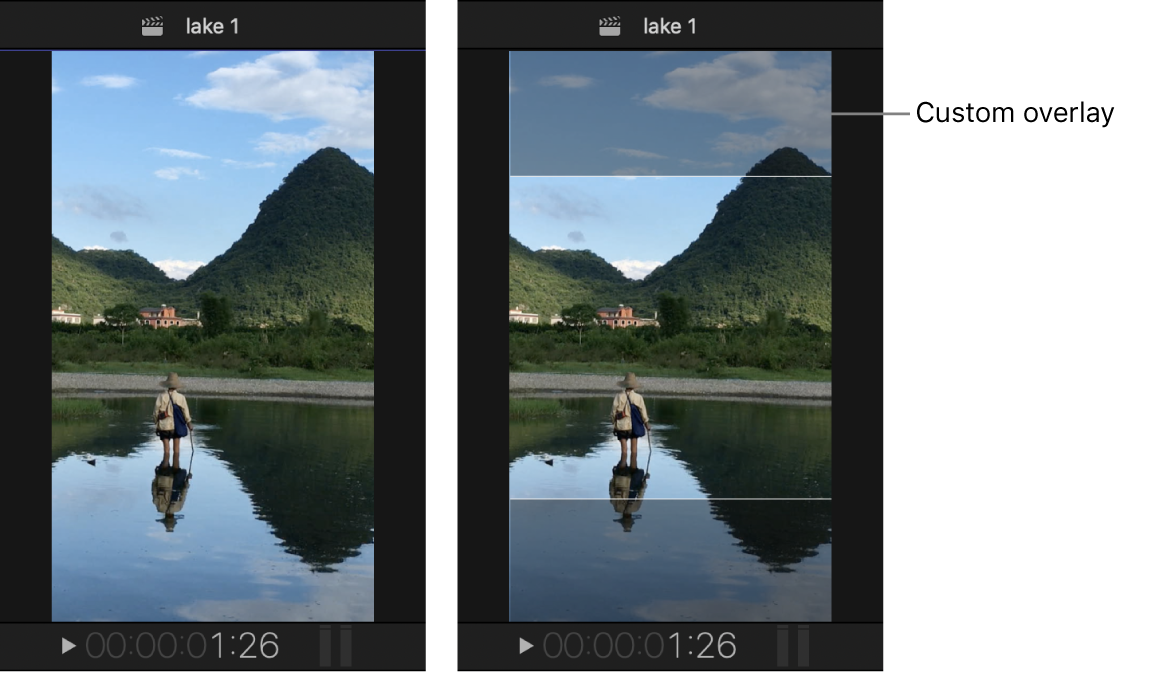 The viewer on the left showing a vertical project, and the same project on the right with a custom overlay creating a safe area with a square aspect ratio