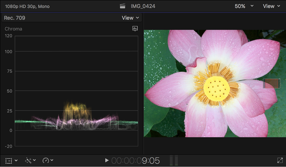 The Chroma waveform monitor shown to the left of the viewer
