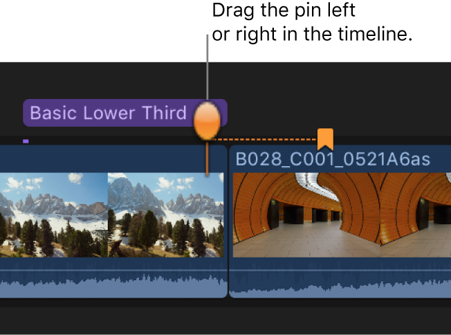A chapter marker thumbnail pin being dragged to another video frame in the timeline