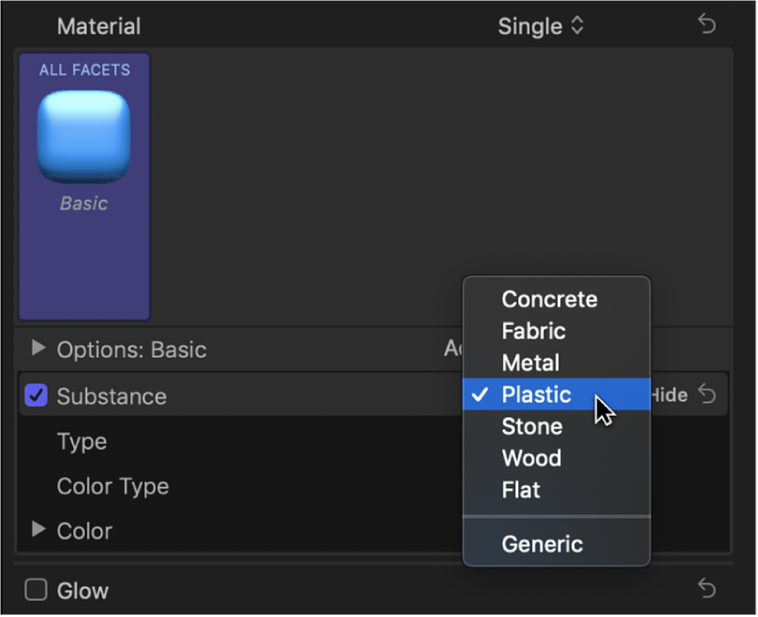 The Text inspector showing the Substance pop-up menu in the Material section of the 3D Text section, with Plastic selected