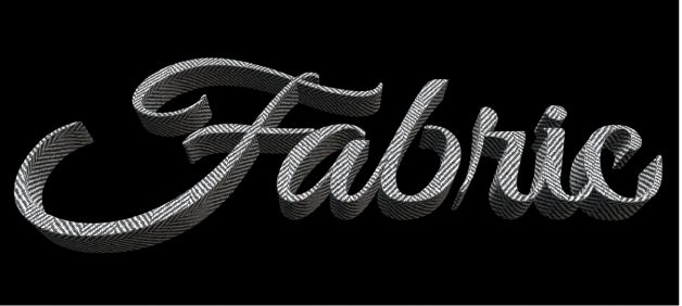 3D text in the viewer with the Fabric substance applied