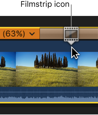 The retime editor showing a filmstrip icon