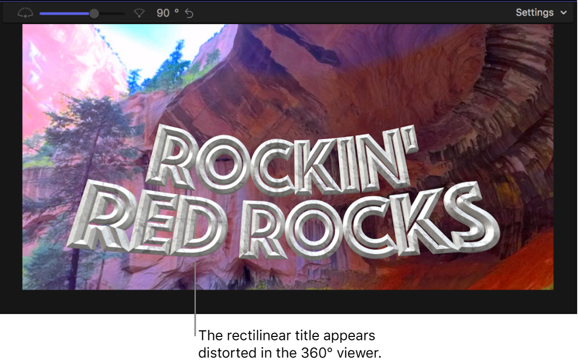 A rectilinear title appearing distorted in the 360° viewer