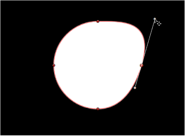 The viewer showing a tangent handle being lengthened independently of its opposing tangent handle