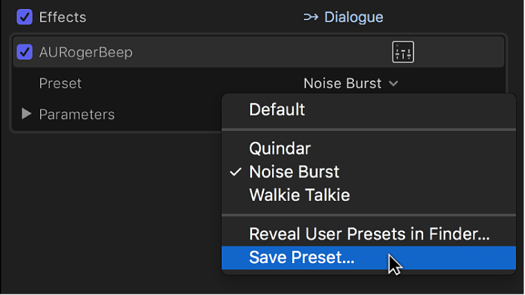 The Effects section of the Audio inspector showing the Save Preset option in the Preset pop-up menu
