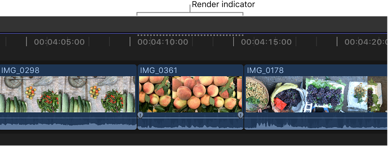 The background render indicator appearing above a clip in the timeline