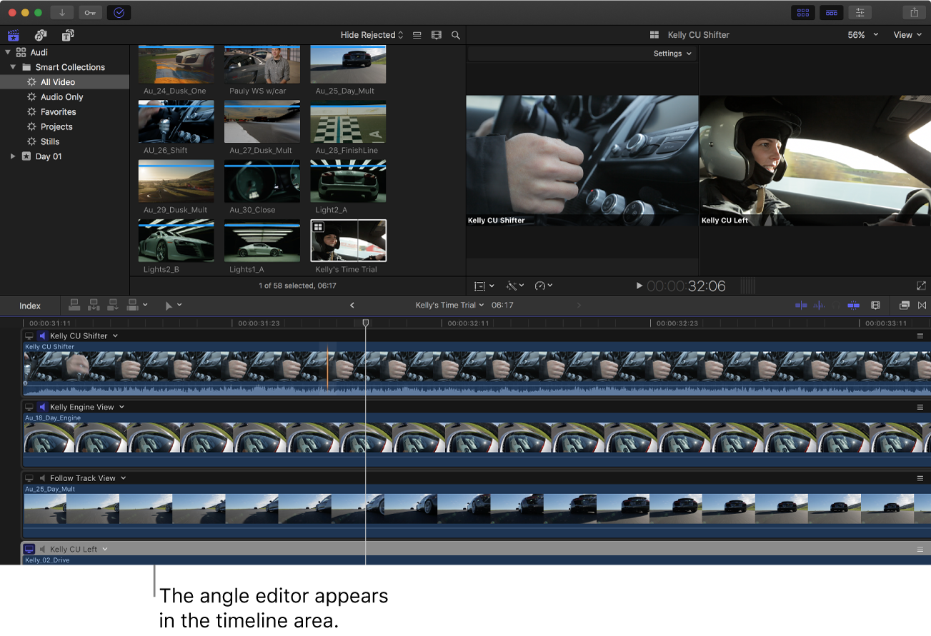 The FinalCutPro window with the angle editor shown in the timeline area