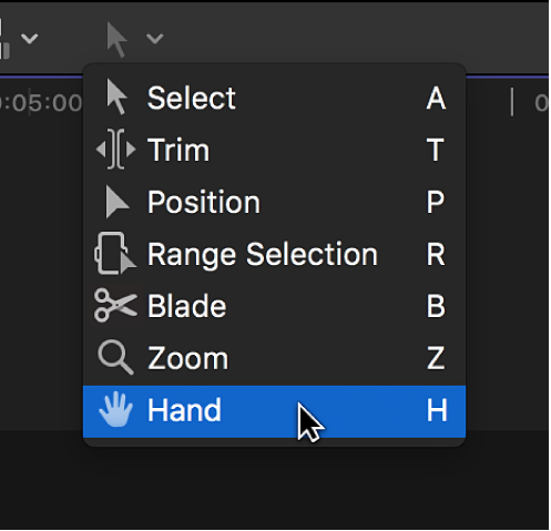 The Hand tool in the Tools pop-up menu
