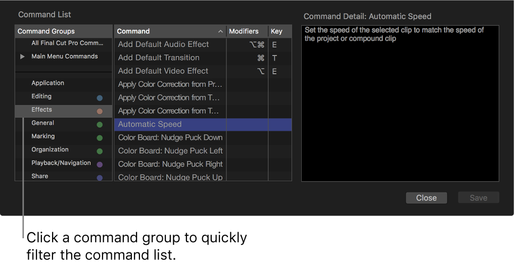 The Command Editor window showing commands and shortcuts for the selected command group