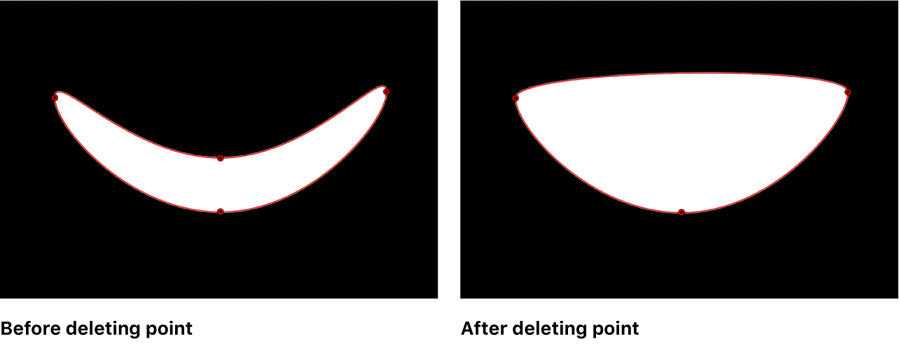 The viewer showing a mask shape before and after a control point is deleted