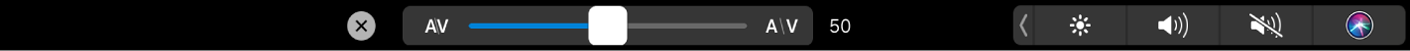 The Touch Bar showing the Text Kerning slider