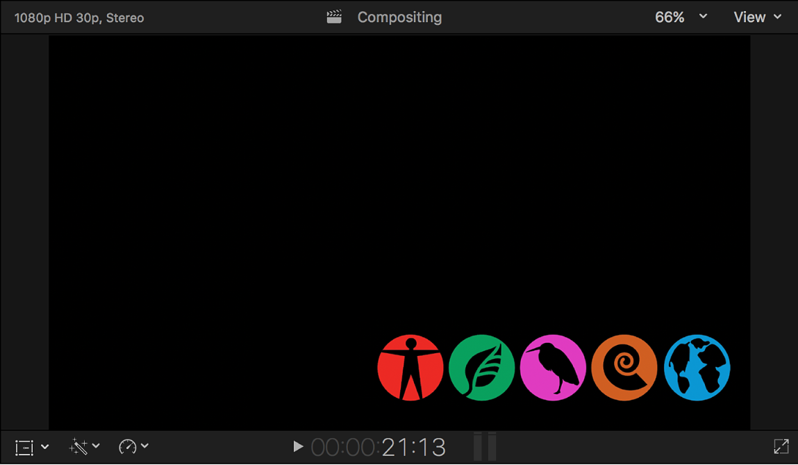 The viewer showing an alpha channel fill image (a row of icons)