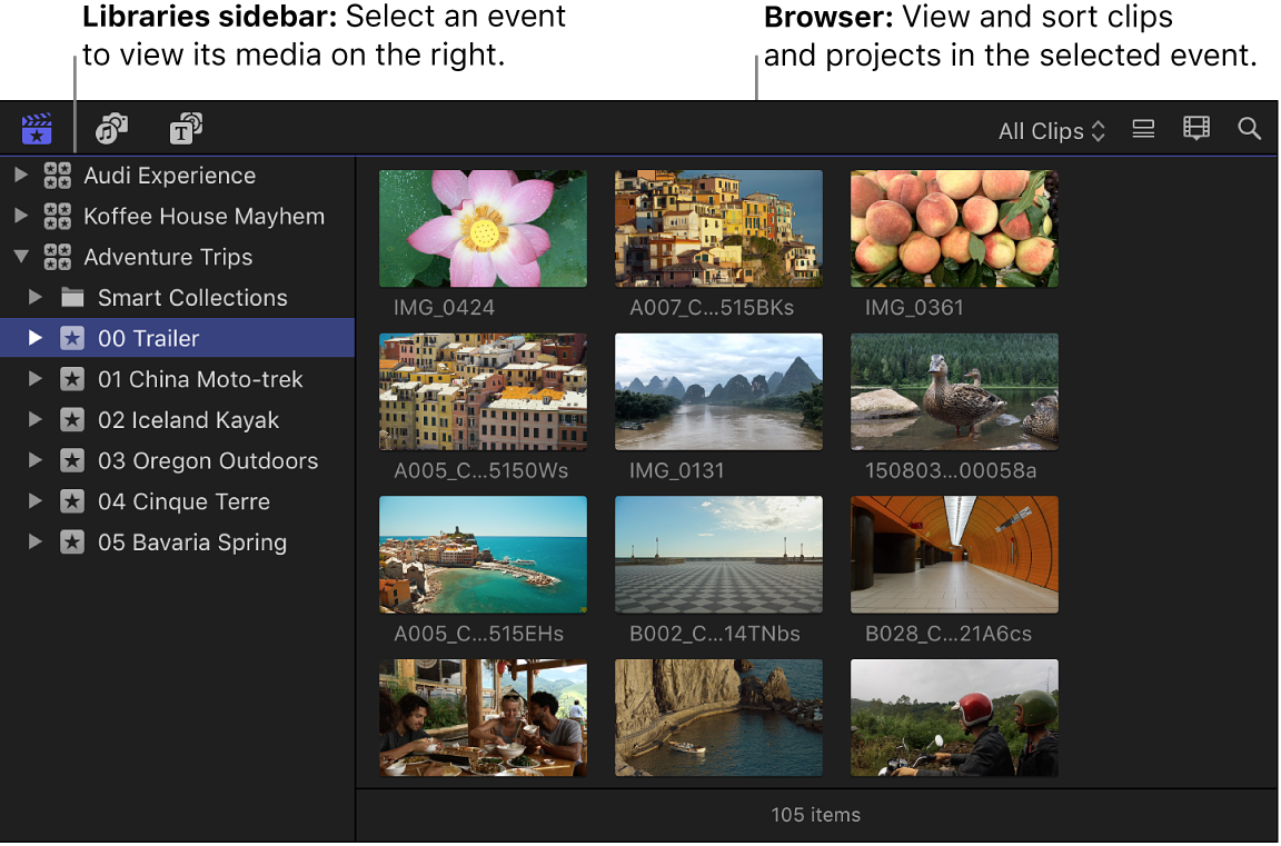 A selected event in the Libraries sidebar on the left, and the browser on the right displaying clips in the selected event