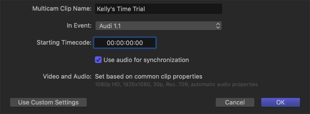 The multicam automatic settings