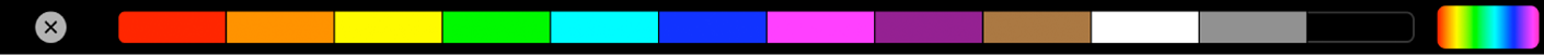 The Touch Bar showing color swatches