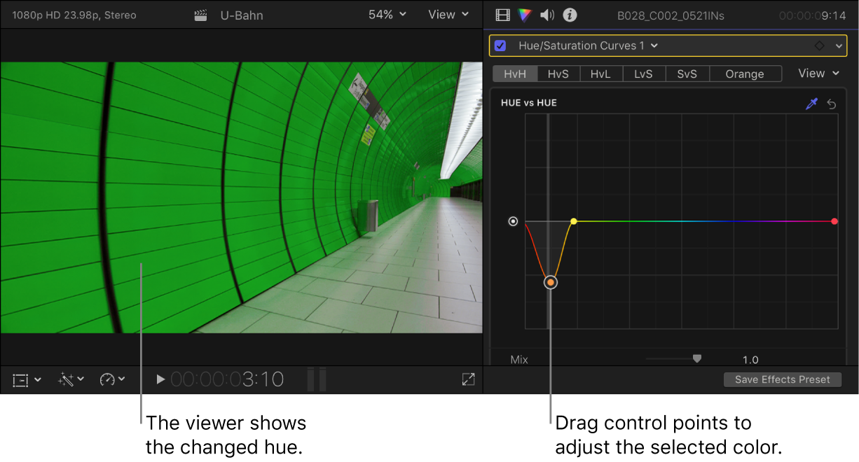 The viewer on the left showing the changed hue, and the Color inspector on the right showing control points on the Hue vs Hue curve